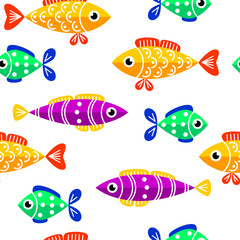 Seamless pattern of cute fish. Fish flat style vector background. Tropical fish, sea fish, aquarium fish on white background.