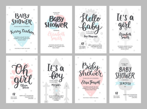 Baby shower girl and boy posters, vector templates. Baby shower pastel invitations with hearts, arrows, feathers and hand drawn text on white background