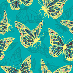 Butterflies with multicolored oriental ornament in style boho, hippie, seamless pattern, ethnic design, arabesque, bohemian. Embroidered openwork exotic Insect. Textiles, fabric design, wallpaper