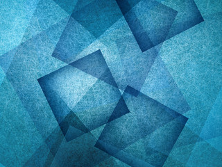 abstract blue background with geometric design, layers of intersecting angles, transparent rectangles diamonds and squares floating in random pattern