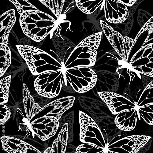 """Butterflies seamless pattern, monochrome, coloring book ..."