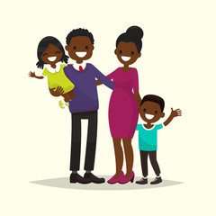 African American family. Father, mother, son and daughter. Vecto