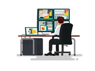 Trader at a desk. Vector illustration
