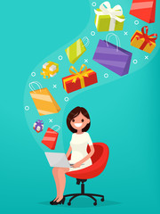 Сoncept of online shopping. Woman buys gifts over the internet.
