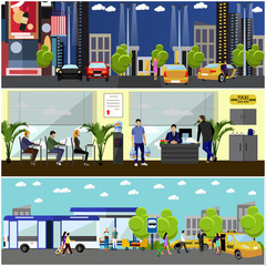 Vector set of taxi service company concept banners. People catch cab on a street. Call center