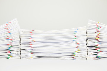 Pile overload document of report and receipt on white background