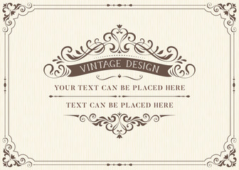 Foto auf Acrylglas Retro Ornate vintage card design with ornamental flourishes frame. Use for wedding invitations, royal certificates, greeting cards, menus, covers, posters, brochures and flyers. Vector illustration.