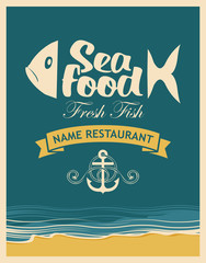 Retro banner for seafood restaurant with fish, anchor rope on the background of the beach and sea