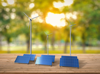 alternative energy concept with wind turbines and solar panels
