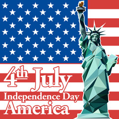 Fourth of july independence day card, with statue of liberty. Digital vector image