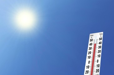 Hitze bei 40 grad, Himmel, Sonne, Thermometer, wolkenlos hohe Temperatur