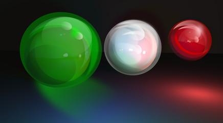 Tre sfere, colori bandiera Italiana.