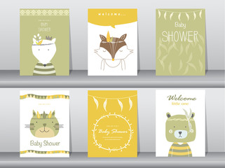 Set of baby shower invitation cards,poster,template,greeting cards,animals,cat,dog,bear,boho,wolf,Vector illustrations