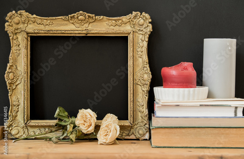 Ornate vintage picture frame with copy space on black