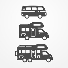 Collection of camping van icons. Travel van symbols in silhouette style. Camping vans vector stock illustration. Vans and RVs with camping equipment.