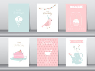 Set of birthday cards,poster,template,greeting cards,cake,bird,Vector illustrations