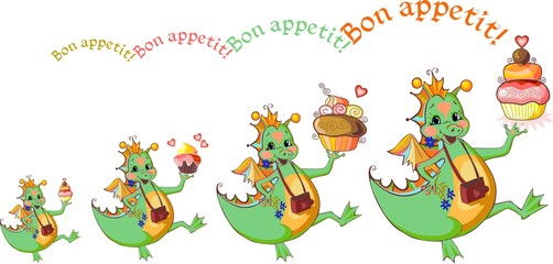 Happy dragons with cupcakes wish bon appetit. Vector illustration