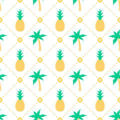 Pineapples and palm trees seamless pattern