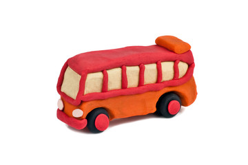 plasticine bus isolated on white background