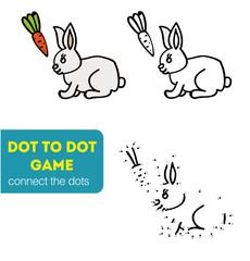 Dot to Dot Games for Children. Cartoon rabbit.