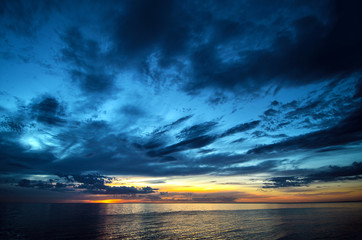 A dynamic sky sunset over the Southern Ocean