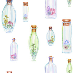 Seamless pattern with watercolor bottles and succulents inside, hand drawn isolated on a white background