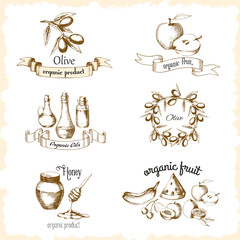 Vintage set of illustrations for organic products. Stickers for olives, honey, fruits, vegetable oils. Sketch drawn in the graphic style of the hand. Vector.