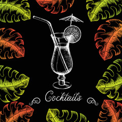 Cocktail with lime, straw and umbrella surrounded by multi-colored palm leaves on a blackboard. It can be used as a cocktail menu. Summer season. Illustrations in graphic style. Sketch. Vector.