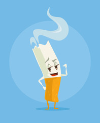 Vector cigarette cartoon funny character. Vector flat illustration