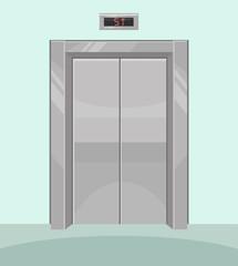 Closed elevator. Iron elevator with closed doors. Vector flat cartoon illustration
