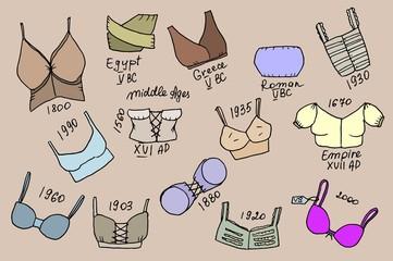 Set of different epoch bras