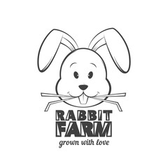 Rabbit farm logo design. Vector illustration of rabbit eating grass.