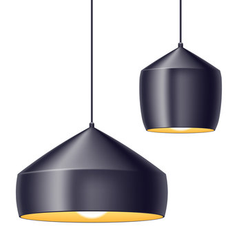 Pendant light lamps vector illustration.