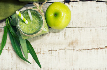 Flat lay green apple - morning glory healthy drink