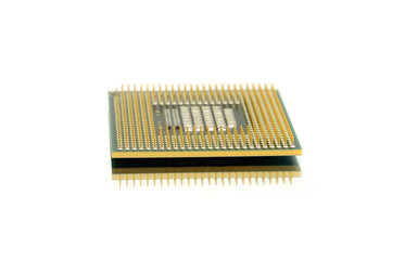 CPU on a white background; Computer processor - the computer's brain.