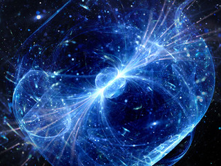 Blue glowing gravitaional wave with gamma ray force field backgr