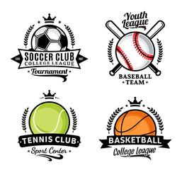 Set of sport team logo for four sport disciplines