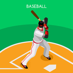 Baseball Player Sports Icon Set.3D Isometric Sport Set Baseball Championship International Competition.Sport Infographic Baseball Player Vector Illustration