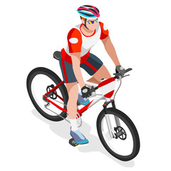 Olympics Mountain Biking Cyclist Bicyclist Athlete Summer Games Icon Set.Mountain Biking Cycling Concept.3D Isometric Sporting Bicycle Competition Race.Olympics Sport Cycling Infographic Vector