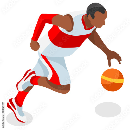 Infographic Ideas infographic basketball : Olympics Basketball Player Athlete Summer Games Icon Set.3D ...