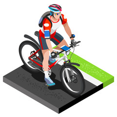 Road Cycling Cyclist Working Out.3D Flat Isometric Cyclist on Bicycle. Outdoor Working Out Road Cycling Exercises. Cycling Bike for Bicyclist athlete Working Out training Vector Image.