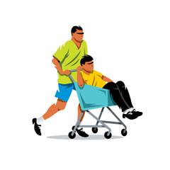 Riding supermarket shopping cart. Vector Cartoon Illustration.