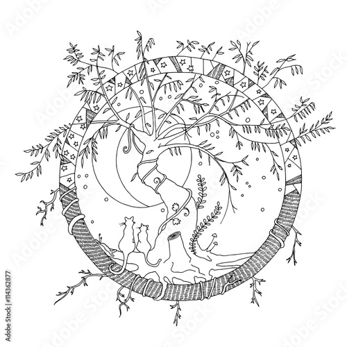 Coloring Page Willow Tree. Round imaginary fictional world with a tangled old willow tree and two cats  gazing at the