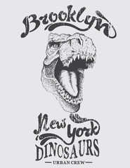 Urban graphic label with head of dinosaur