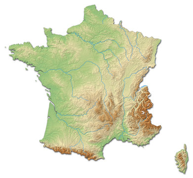 Relief map of France