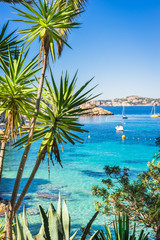 Mediterranean Sea Bay Coast with turquoise water and boats