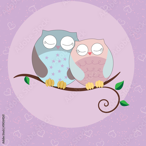 The Card With Couples Of Cute Owls Sitting On Branch With Leaves At