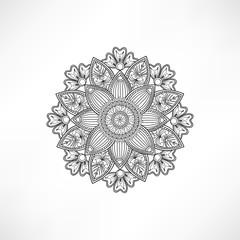 Oriental geometric outline flower isolated. Mandala design element, ethnic amulet. Indian floral decor