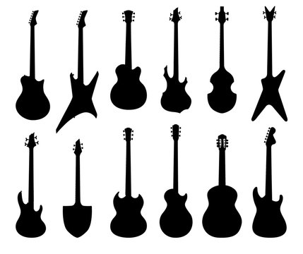 Musical instruments set. Electric, acoustic, bass, ruthm guitar