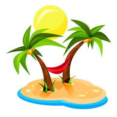 Palmy / plaża / hamak